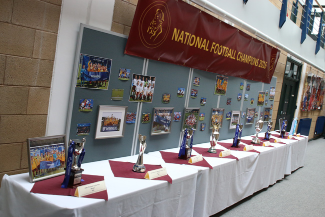 Football Trophies on display