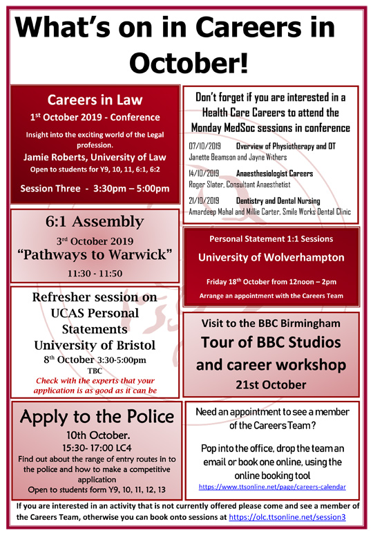 Careers What's on Flyer for October 2019